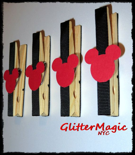FREE SHIPPING  Set of 12  Mickey Mouse Red by GlitterMagicParty, $8.99