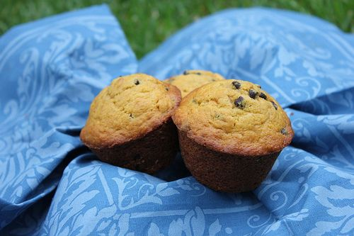 """My family's favorite: Pumpkin Chocolate Chip Muffins. --My little guy likes them chipless, which are also good, but i say """"bring on the chocolate!"""" We use mini-chips to help spread the love ;)"""