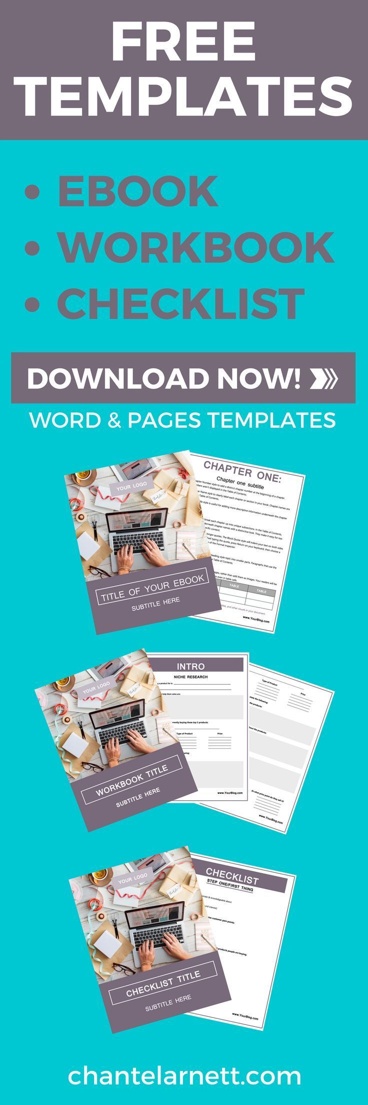 FREE EDITABLE TEMPLATES! Have you always wanted to create your own checklists, eBooks, and workbooks for your audience? But you don't have the time to create them from scratch? Do you need an awesome lead magnet for your email list but you're not that comfortable with design? Then these three editable templates are perfect for you! via @chantel_arnett ebook template | workbook template | checklist template