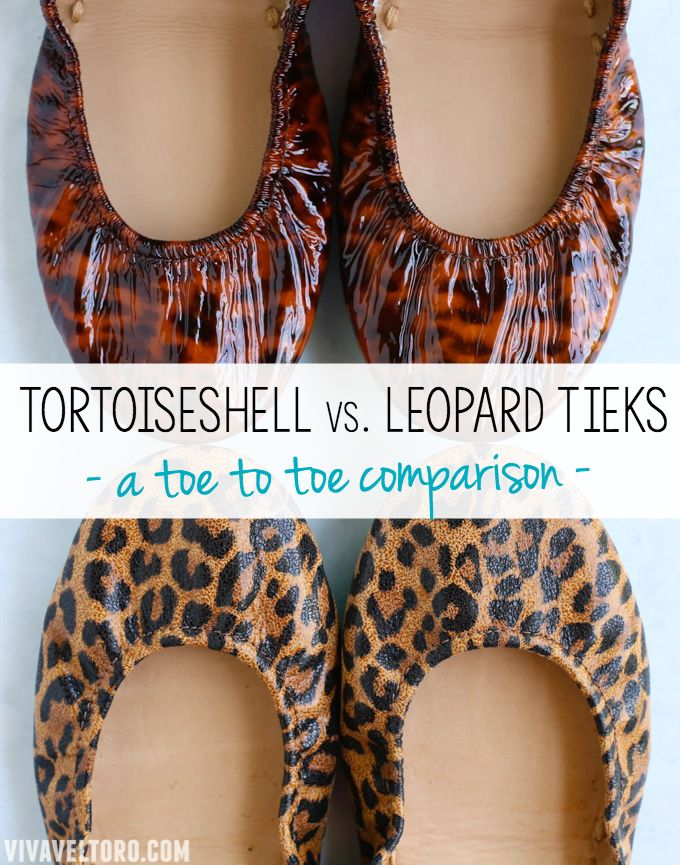 A toe to toe comparison of Leopard Tieks and Tortoiseshell Tieks. Which pair of these comfortable ballet flats is right for you?