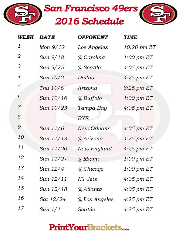 Printable San Francisco 49ers Schedule - 2016 Football Season