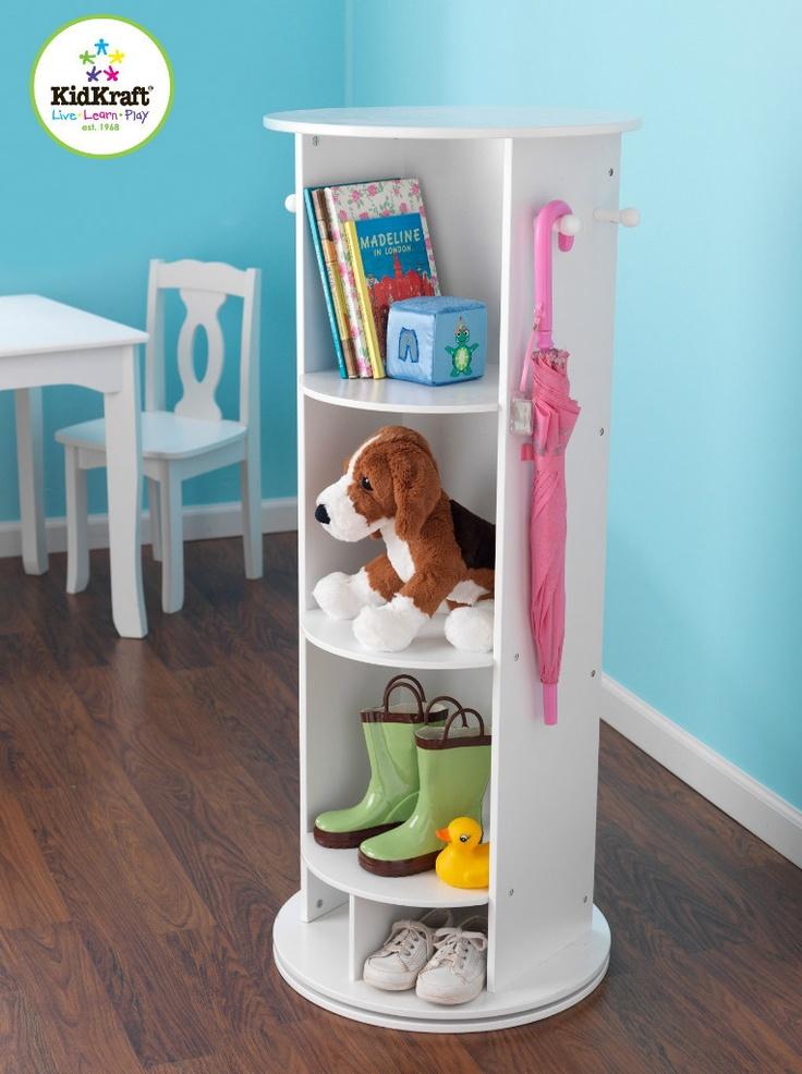 SWIVEL VANITY & Mirror White Bedroom Shelf KIDKRAFT Organize Girls Bedroom | eBay