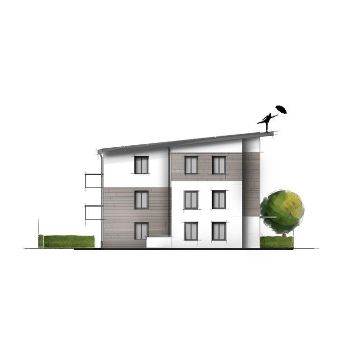 Kolorierte Ansicht Eines Wohnhaues Collage Handzeichnung Photoshop Illustration Innenarchitektur Architektur Innenar