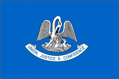 """Louisiana's State Flag (Entered the Union on April 30, 1812, 18th state) ~ Origin of name: In honor of Louis XIV of France ~ State Motto: Union, justice and confidence ~ State Song: """"Give Me Louisana"""" and """"You Are My Sunshine"""" ~ State Forest: 1 and State Parks: 35 ~ Famous for: Mardi Gras and Jazz, French Quarter"""