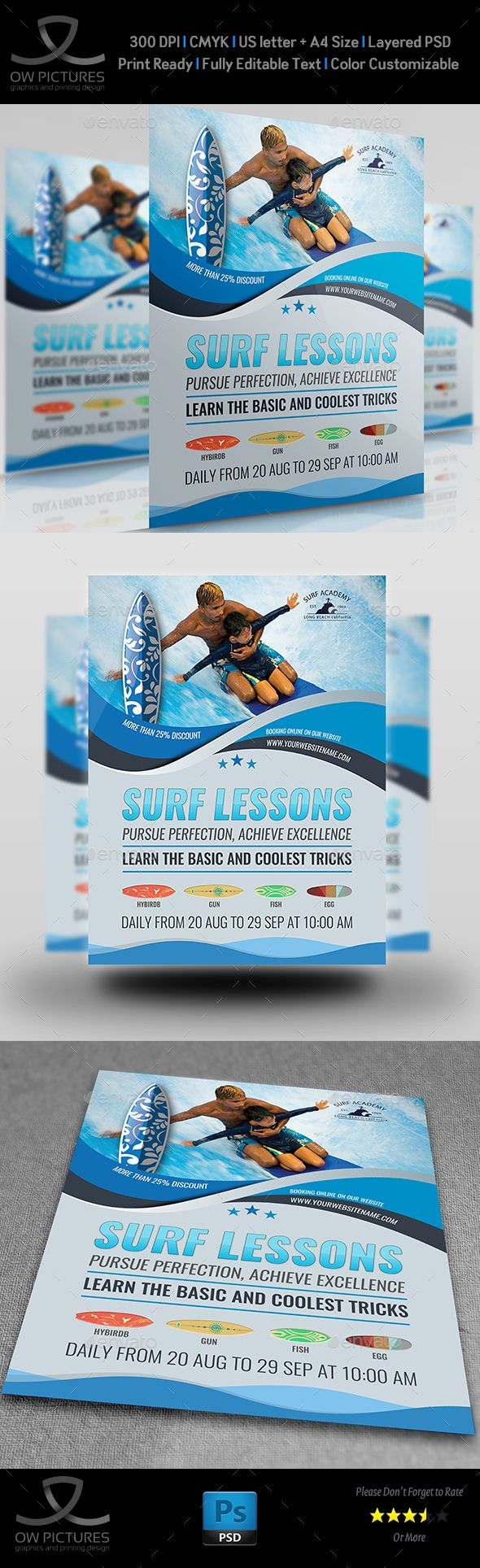 Surf Training Flyer Template PSD