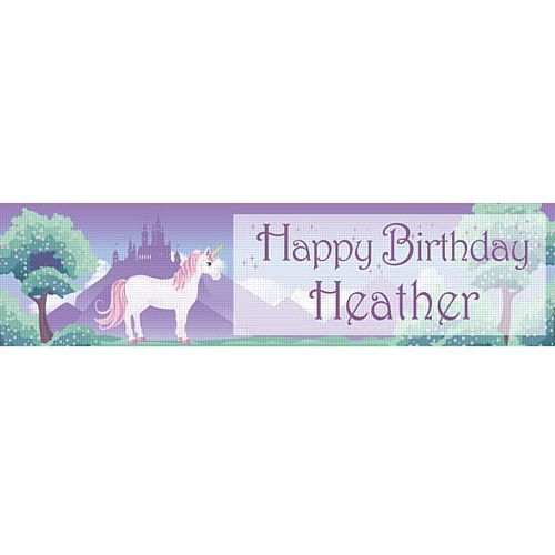 'Add Your Name and Age' Unicorn Fantasy Personalised Banner - 1.2m - Party Packs
