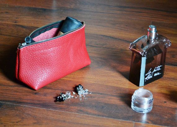 LEATHER POUCH Leather Clutch Leather Toiletry Bag Small