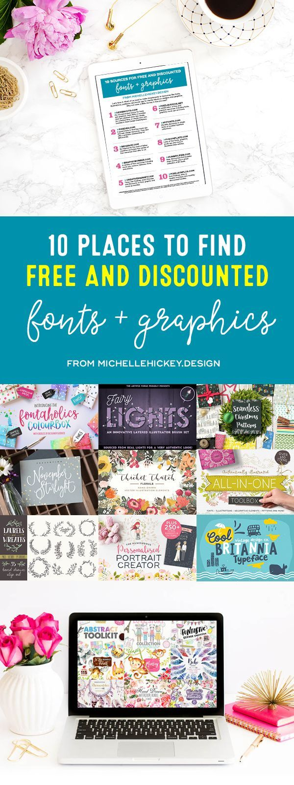 10 places to find free and discounted fonts + graphics! A comprehensive list of the best websites that help graphic designers, bloggers, and creative entrepreneurs save money. Sign up to download the free guide! // From MichelleHickey.Design