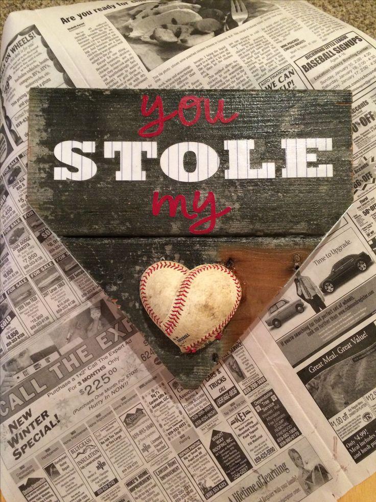 DIY baseball craft •reclaimed wood •card stock •old baseball •modge podge •spray adhesive  •gorilla glue