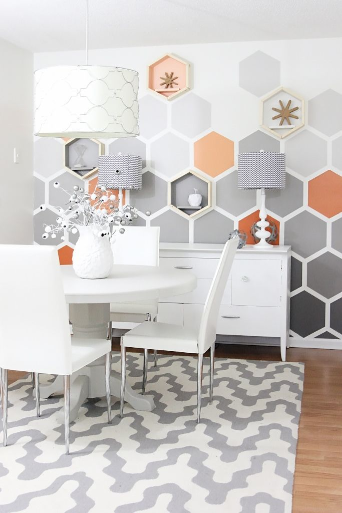 Before And After Geometric Hexagon Wall Orange Dining RoomHome