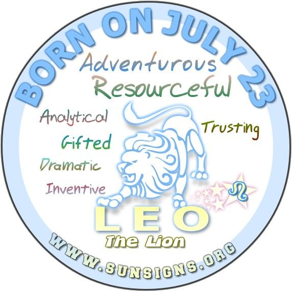 IF YOU ARE BORN ON JULY 23, the Leo Birthday Analysis reports that you enjoy life and can't wait for the next adventure. Friendly, likeable and odd describes a person born on this birth date in July.