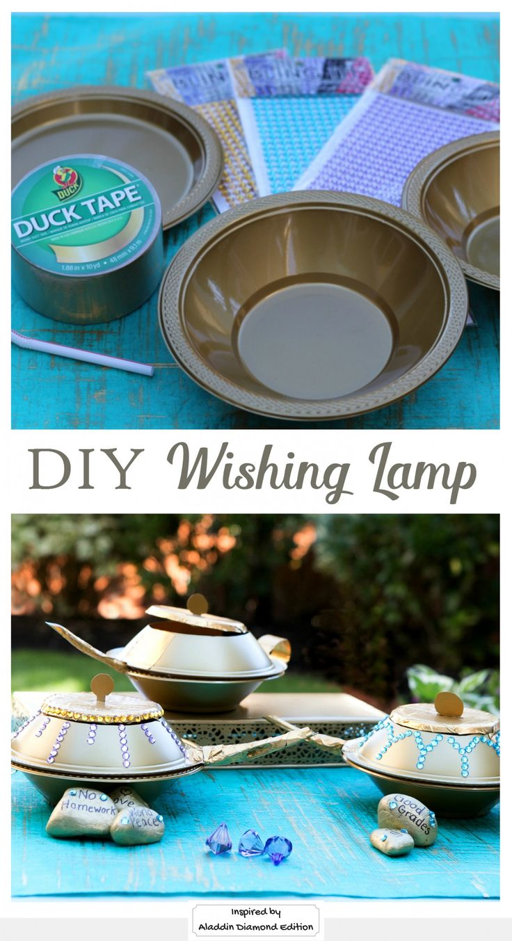 Turn everyday material into something magical! Create a DIY wishing lamp with plastic party bowls, plates, a bendable straw and duct tape. Add some sparkle, and don't forget to make a wish. Inspired by Disney's Aladdin Diamond Edition. Now on Blu-ray™, Digital HD & Disney Movies Anywhere.