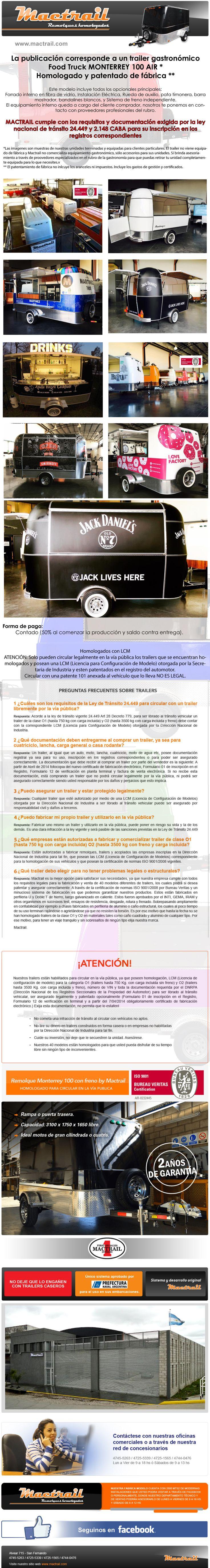 Food Trailer Gastronomico Homologado Patentado De Fábrica - $ 330.000,00
