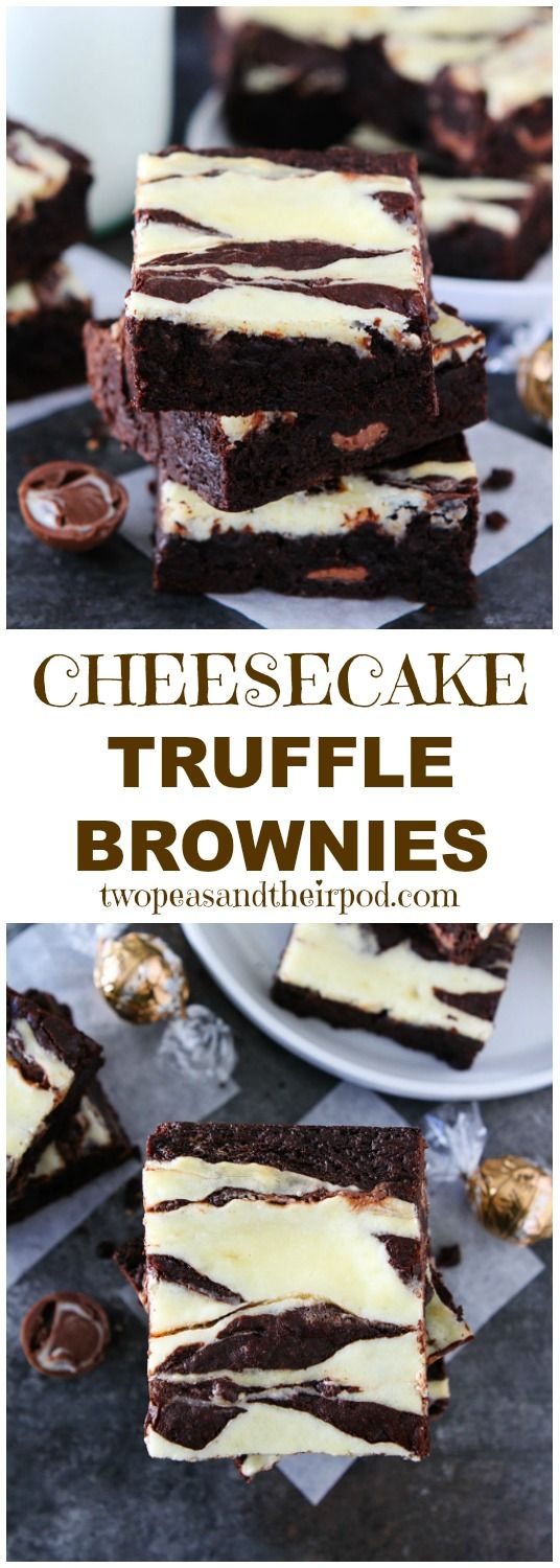 These Cheesecake Truffle Brownies are the BEST brownies you will ever eat. They are rich, fudgy, and have a layer of chocolate truffles and a smooth cheesecake layer. The ultimate dessert!