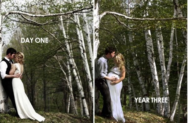 this couple returned to the spot where their wedding photos were taken to capture another milestone. Well isn't this just the sweetest thing ever