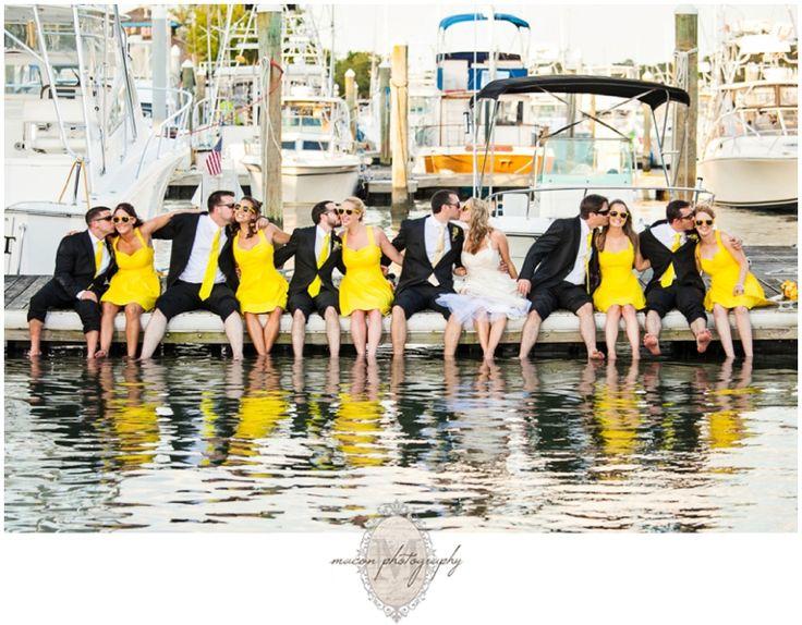 Bridget & Josh in The Coastal Room #yellow #bright #summer | The Yacht Club at Marina Shores #Wedding #VirginiaBeach #marina #boats #docks @The Yacht Club at Marina Shores