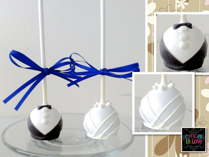 bride/groom cake pops