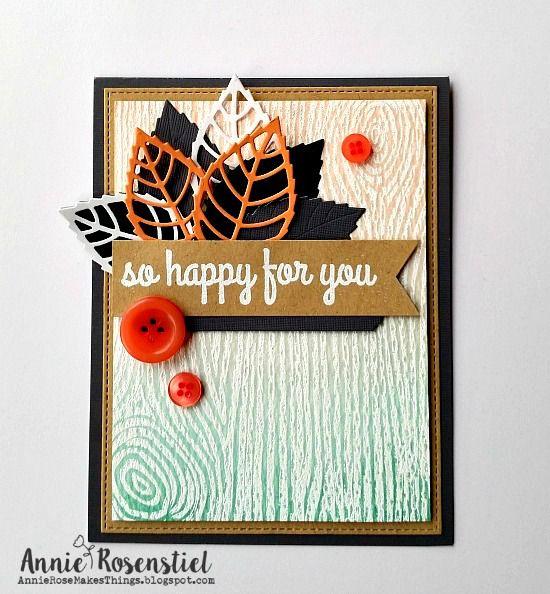Woodgrain Background stamp and Layered Leaves Die-namics  - Annie Rosenstiel…