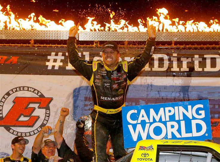At-track photos: Eldora Speedway Wednesday, July 19, 2017 Matt Crafton, driver of the No. 88 Ideal Door/Menards Toyota, celebrates after winning the NASCAR Camping World Truck Series 5th Annual Dirt Derby 150 at Eldora Speedway. Photo Credit: Photo by Sean Gardner/Getty Images Photo: 1 / 43