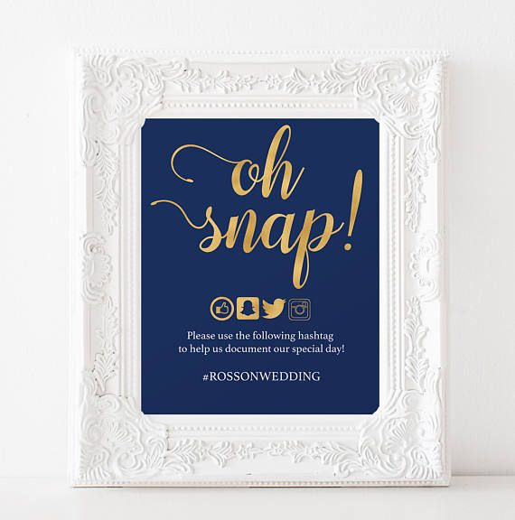 Get your modern navy and gold wedding hashtag sign, just download, edit on Adobe and print where you wish!  You will receive:  - Sizes included in download: -- 5x7 one per sheet; -- 5x7 two per sheet; -- 8x10; -- 8.5x11. - Format: Single-sided flat  You can edit font size and colors in the editable text fields just highlight text and press CTRL+E(windows) cmd+E (MAC).  A guide for PDF editable file is included in the download. ► See images which indicate text not editable. This listing does…