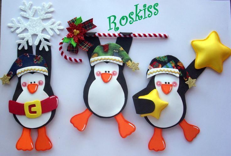 Son 3 Traviesos Pingüinitos Muy Navideños En Foamy Y Tela