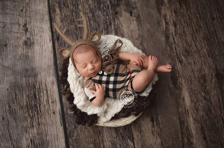 Newborn boy romper (Charlie) - photography prop - onesie, cream, tan, red, black, plaid, boy outfit, holiday outfit by adorableprops on Etsy
