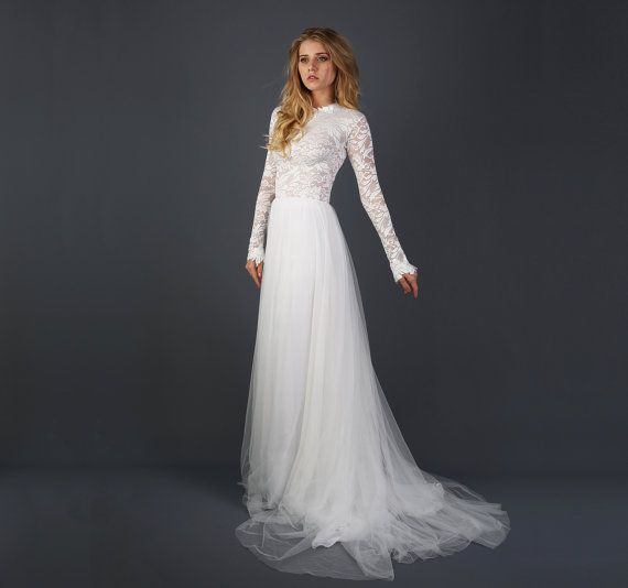 Beautiful Lace Long Sleeve Wedding Dress with by WearYourLoveXO