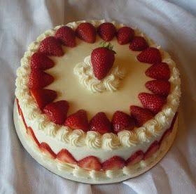 Strawberry cake, swirls around top.
