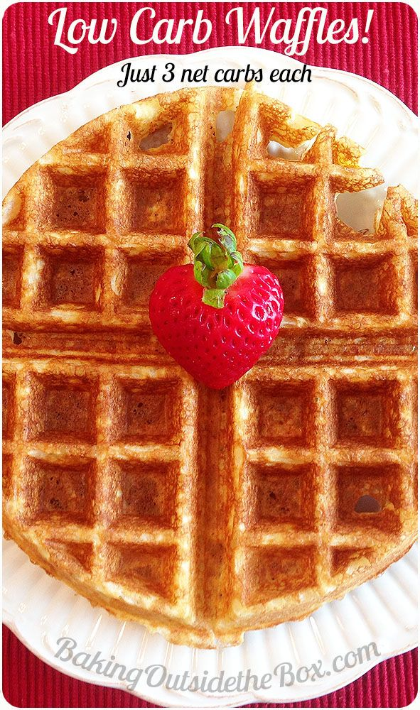 #bakingoutsidethebox   This Low Carb Waffles Recipe is a delicious, crunchy treat with just 3 net carbs per serving.  -- A happy Saturday morning any day of the week.