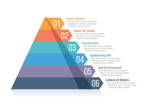 Pyramid Infographics Template With 6 Elements Editable Text Free