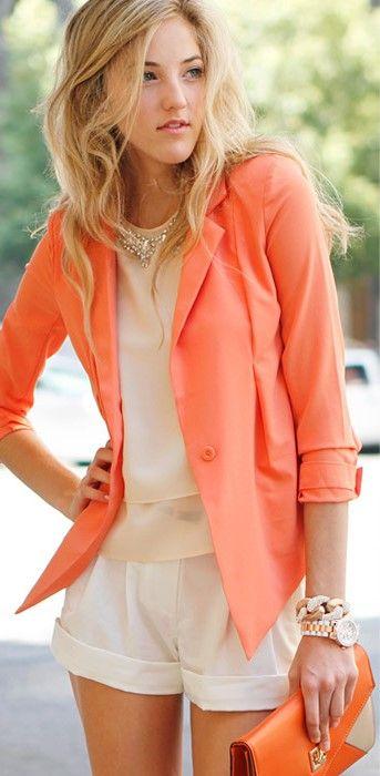 Blazer casual outfit naranja fresco primavera