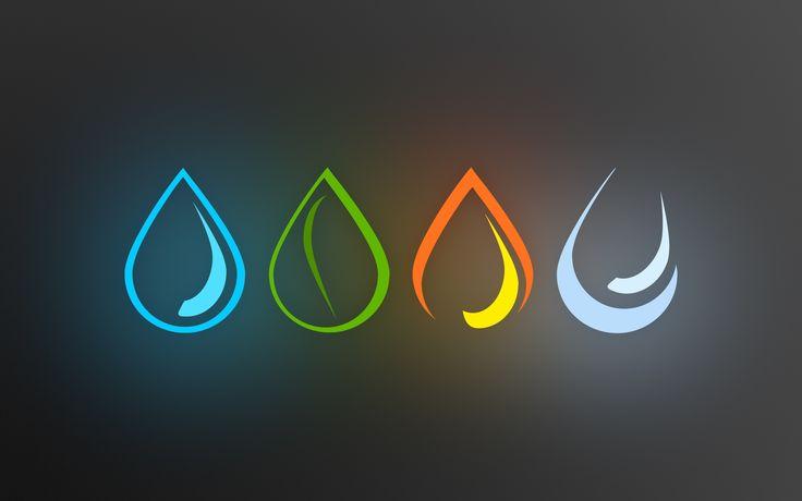 water minimalistic fire Earth elements air four elements symbols  / 2560x1600 Wallpaper