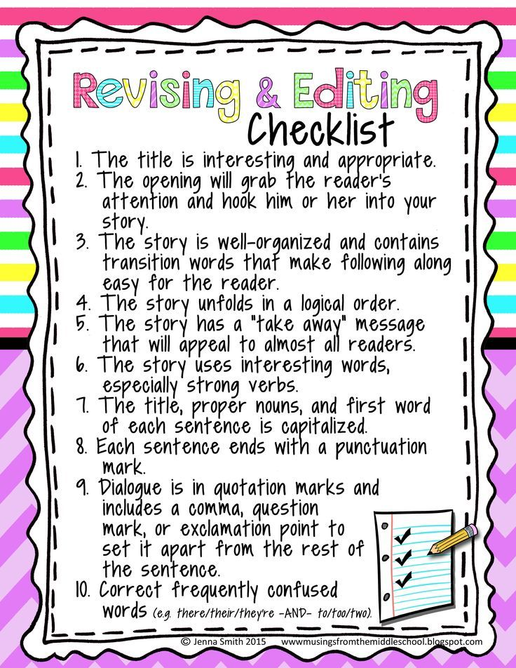 Perfect Revising and Editing Checklist for the upper grades!!