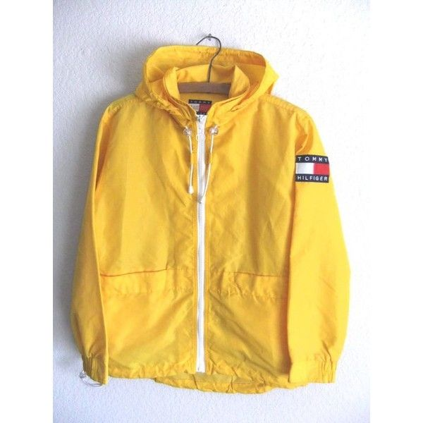 90s Tommy Hilfiger Anorak Raincoat Club Kid Yellow Textured Parka with... ❤ liked on Polyvore featuring men's fashion, men's clothing, men's outerwear, men's coats, mens hooded coats, mens anorak, mens hooded raincoat, mens mac coat and mens anorak jacket