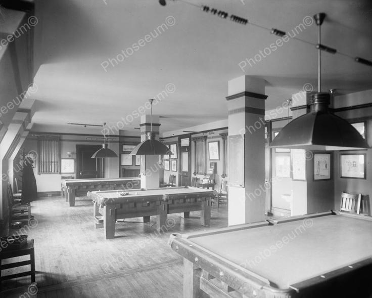 Old Fashioned Billard Pool Hall 1920's Vintage 8x10