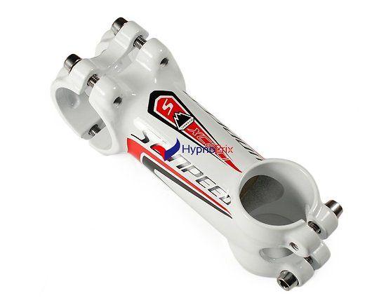 Potence vélo en aluminium 31.8mm (blanc + rouge)