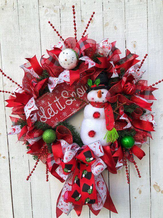 Snowman Wreath Christmas Wreath Red White Wreath Christmas Deco Mesh Christmas Decor Xmas Door Decor Farmhouse Wreath Holiday Wreath Christmas Wreaths Christmas Mesh Wreaths Snowman Wreath