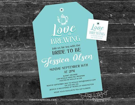 Love is Brewing Tea Bag Tea Party Invitation  Bridal Tea
