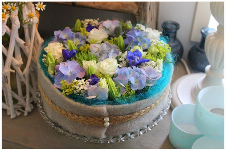 Blauwe bloementaart