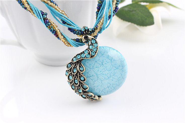 2015 новый павлин украшения грубой ожерелье женский ключицы бирюзовый камень ожерелья шкентеля летний стиль ювелирных изделий купить на AliExpress