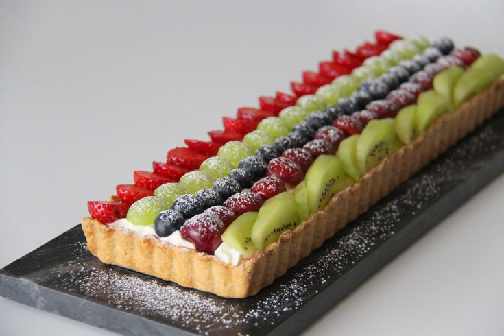 Opskrift på regnbue frugttærte