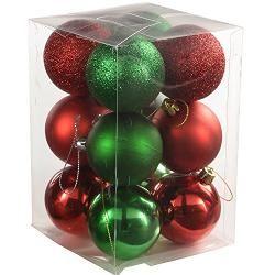 WeRChristmas 12 Stück hochwertige Baumkugeln Christbaumkugeln, verschiedene Stück, rot/grün