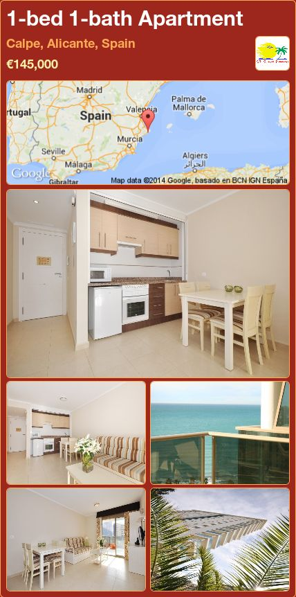 1-bed 1-bath Apartment for Sale in Calpe, Alicante, Spain ►€145,000