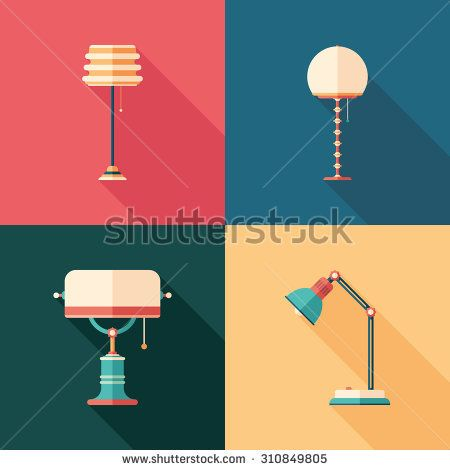 Classic lamps flat square icons with long shadows. #homeinterior #homefurniture #flaticons #vectoricons #flatdesign