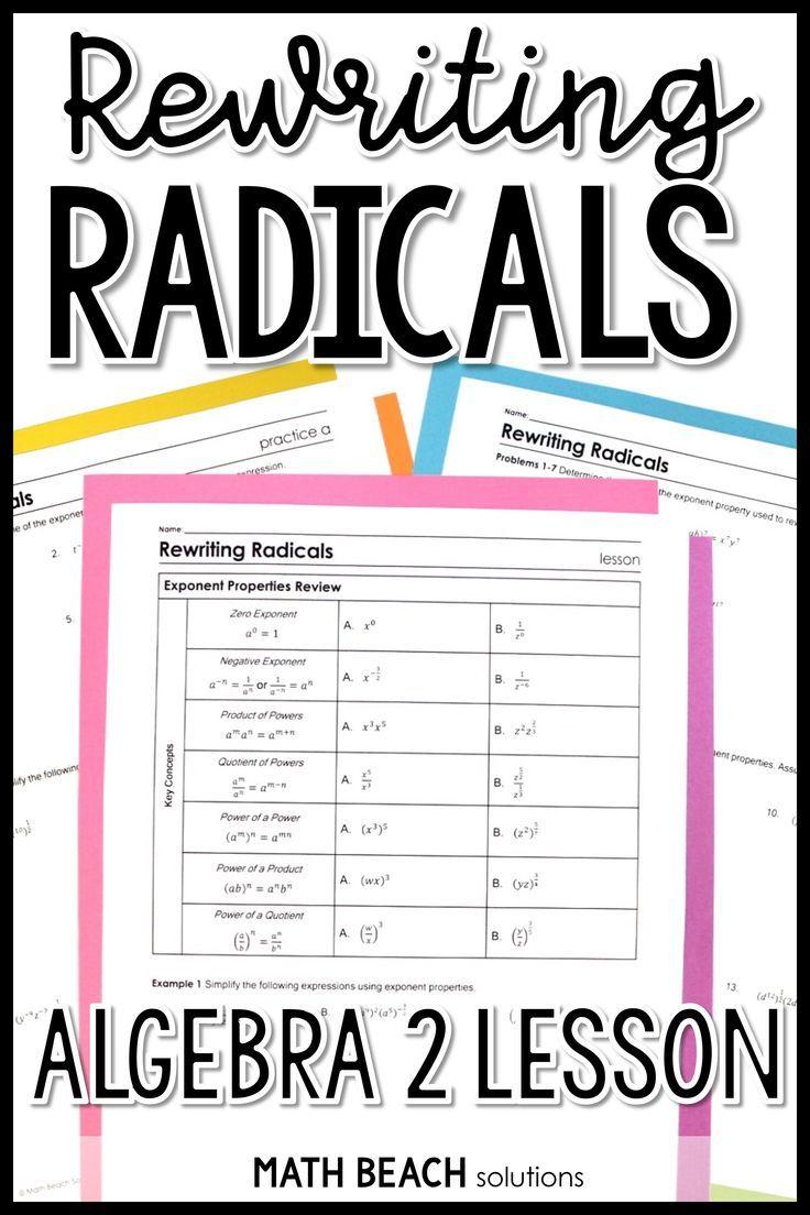 Rewriting Radicals Lesson Simplifying Expressions Lesson Radical Expressions