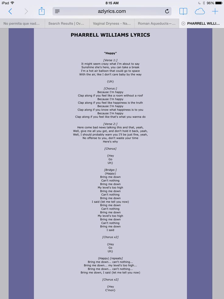 Lyrics To Pharrell Williams Happy