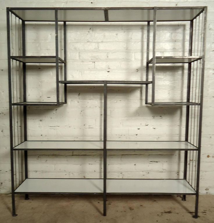 Frederick Weinberg Style Midcentury Iron and White Laminate Shelving Unit | From a unique collection of antique and modern shelves at https://www.1stdibs.com/furniture/storage-case-pieces/shelves/