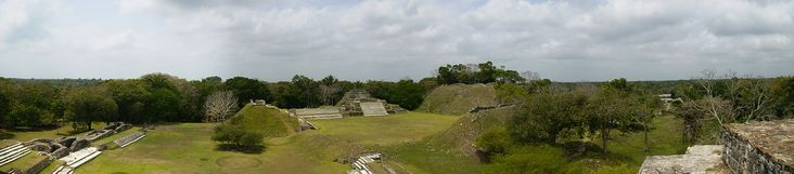 Altun Ha - Altun Ha /ɑːlˈtuːn hɑː/ is the name given to the ruins of an ancient Mayan city in Belize, located in the Belize District about 30 miles (50 km) north of Belize City and about 6 miles (10 km) west of the shore of the Caribbean Sea. The site covers an area of about 5 miles (8 km) square. The earliest structures found at Altun Ha, found in Zone C, are two round platforms that date to about  900−800 BCE.  Wikipedia