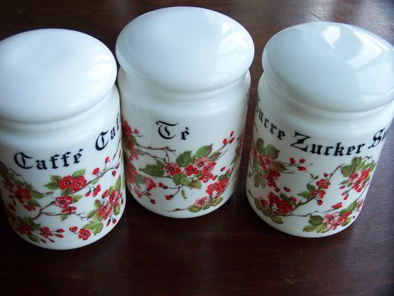 Milk Glass Tea  Coffee Sugar Canisters New Out of by IngliVintage
