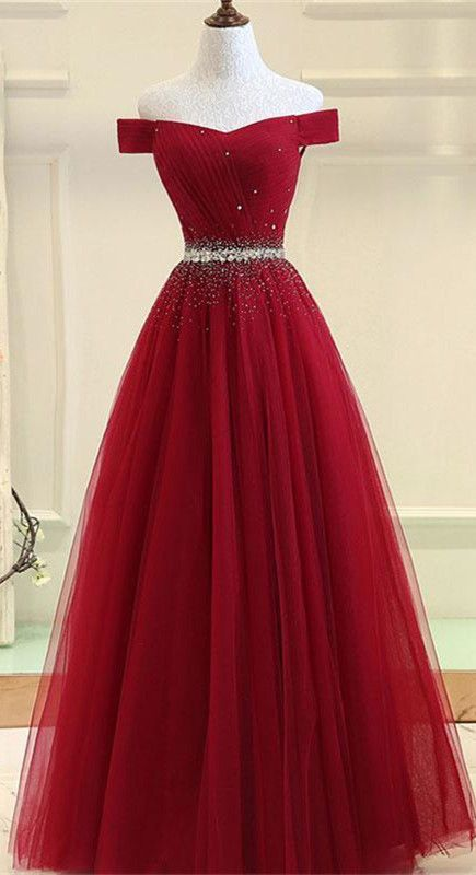 bc3d9d4c90a Fabulous Tulle Off-the-shoulder Neckline Ball Gown Prom Dresses With ...